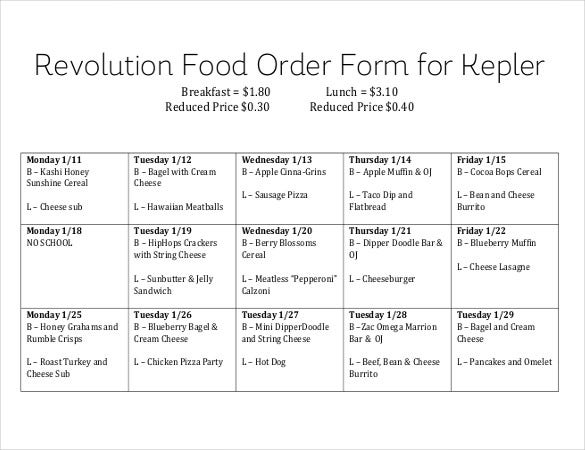 Food Order Form Template  BesikEightyCo