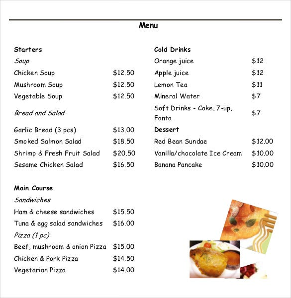 15+ Food Order Templates – Free Sample, Example, Format Download