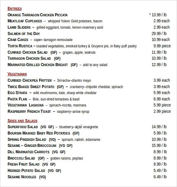 food menu order document free download1
