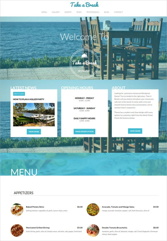 restaurant one page wordpress theme
