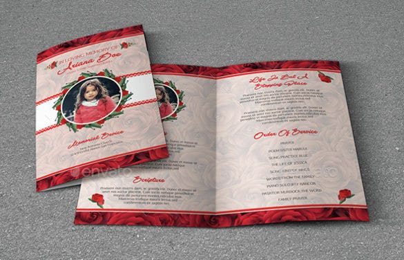 child funeral brochure template in word format