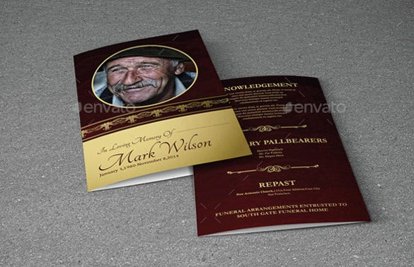 bifold memorial brochure template in word