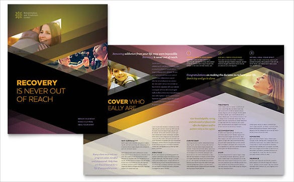 full color graphic design rehab center brochure word template