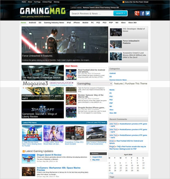 gaming news website theme