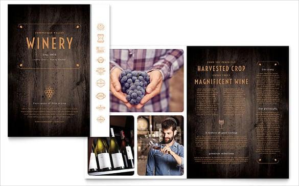 word winery bi fold brochure template