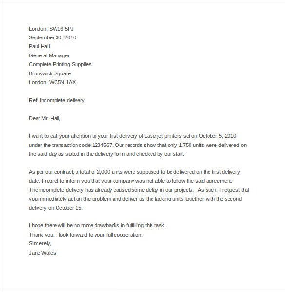 example of a complaint letter to a company