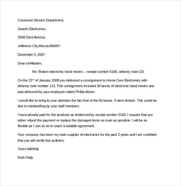 10 Business Complaint Letter Templates Free Sample Example – Claim Template Letter