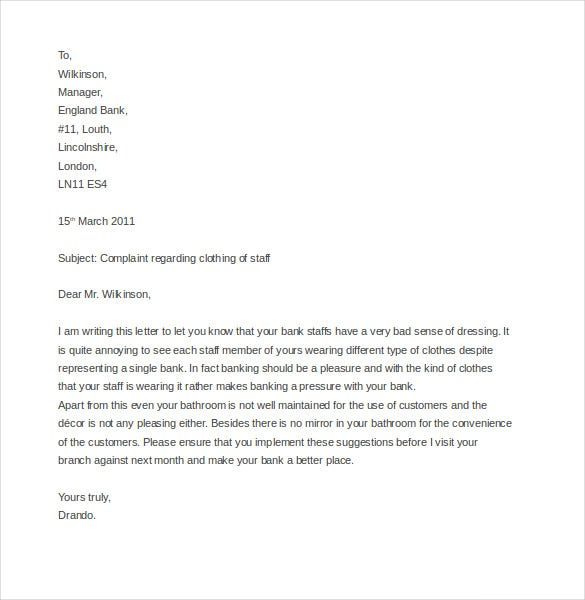 printable business complaint letter sample
