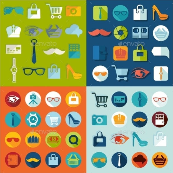 lifestyle fashion flat icons set