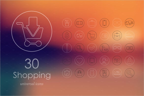 30 shopping icons set download