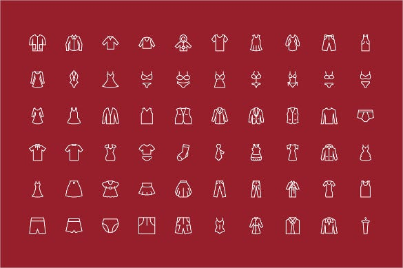 100 men and women clothes icon set download