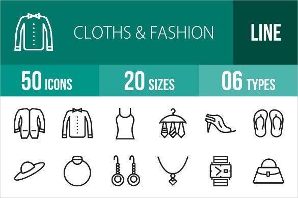50 amazing clothes fashion line icon set download