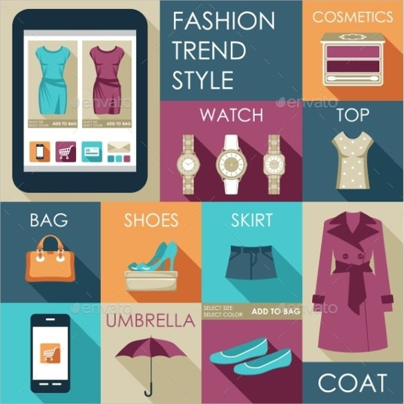flat design fashion icon set download