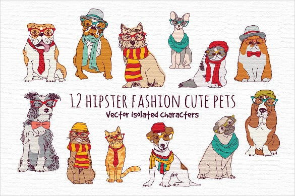 amazing vector fashion pets set download