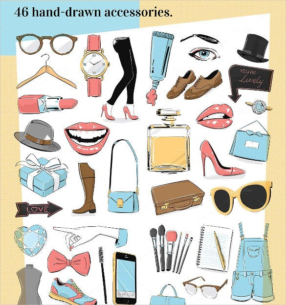 46 illustrated fashion icons set download