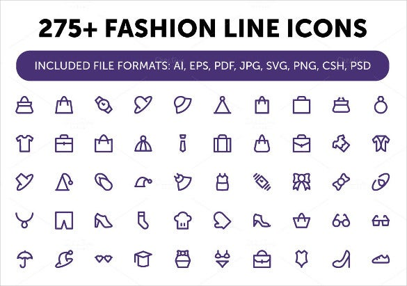 275 stunning fashion line icons download