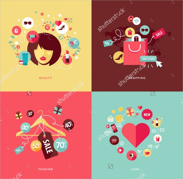 fashion love flat design set download