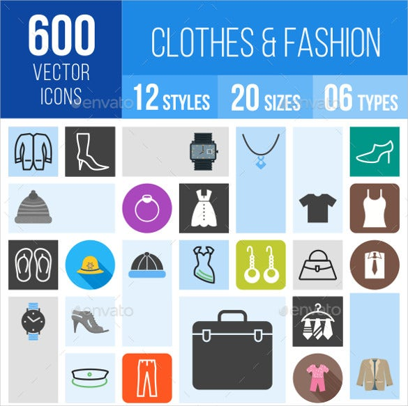 600 clothes fashion vector icons
