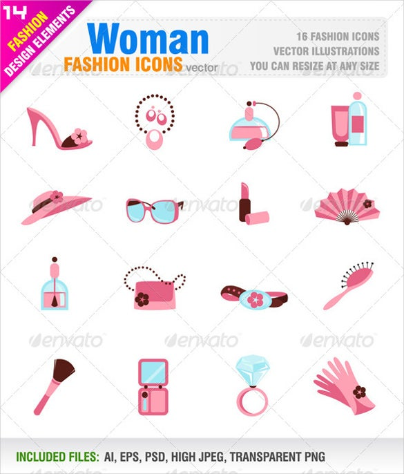 16 woman fashion icon set download