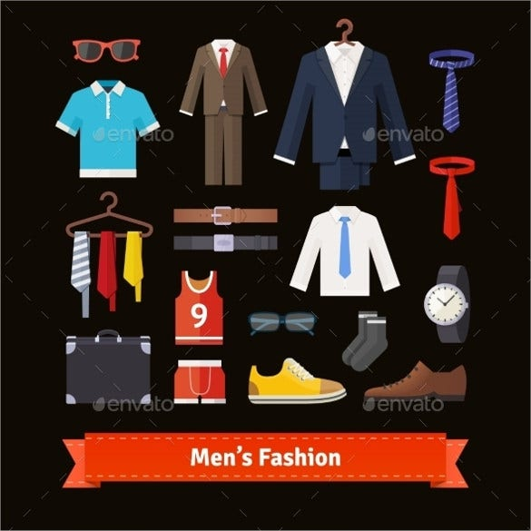 colourful men fashion icon set download