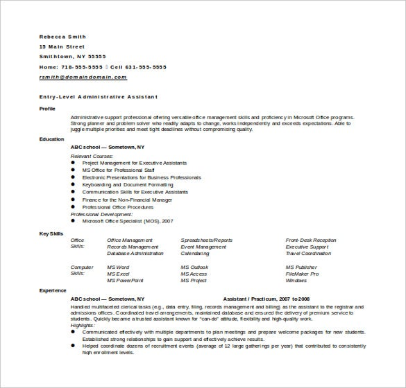 financial administrative assistant resume in doc