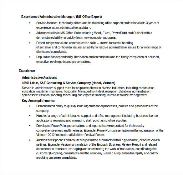 experienced administrative manager resume template in word format - Administrative Resume Samples