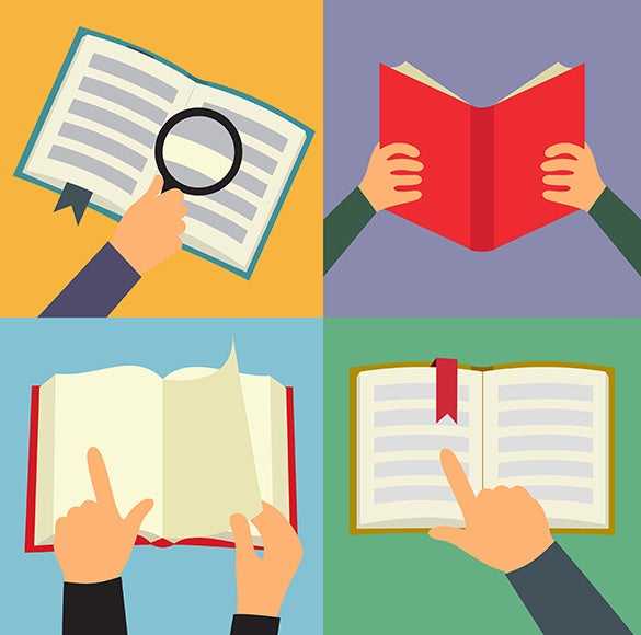 reading book flat icon set