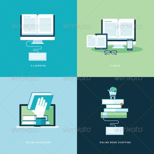 online book icon set