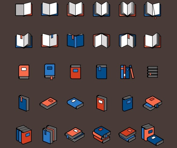 book color icons vector illustration download