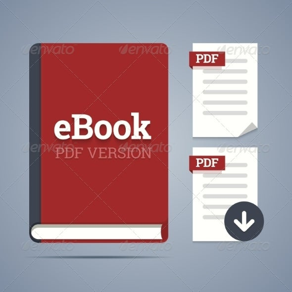 electronic book template with documents icons