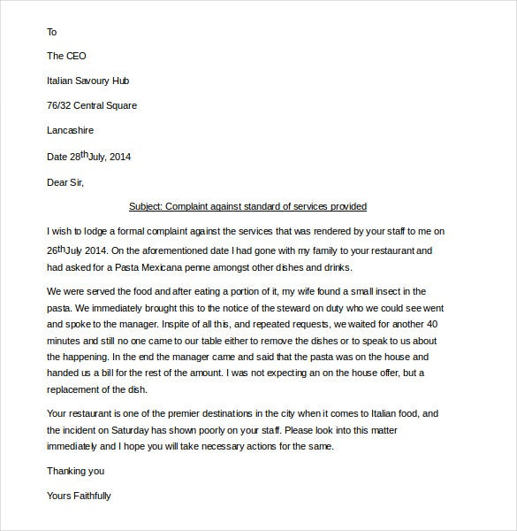 Sample Formal Restaurant Service Complaint Letter