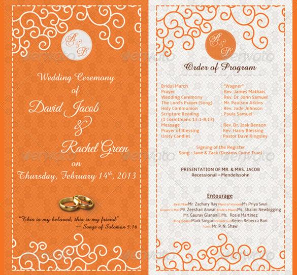attractive wedding schedule template for download