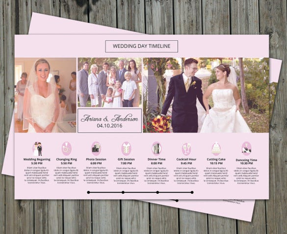wedding schedule template instant download
