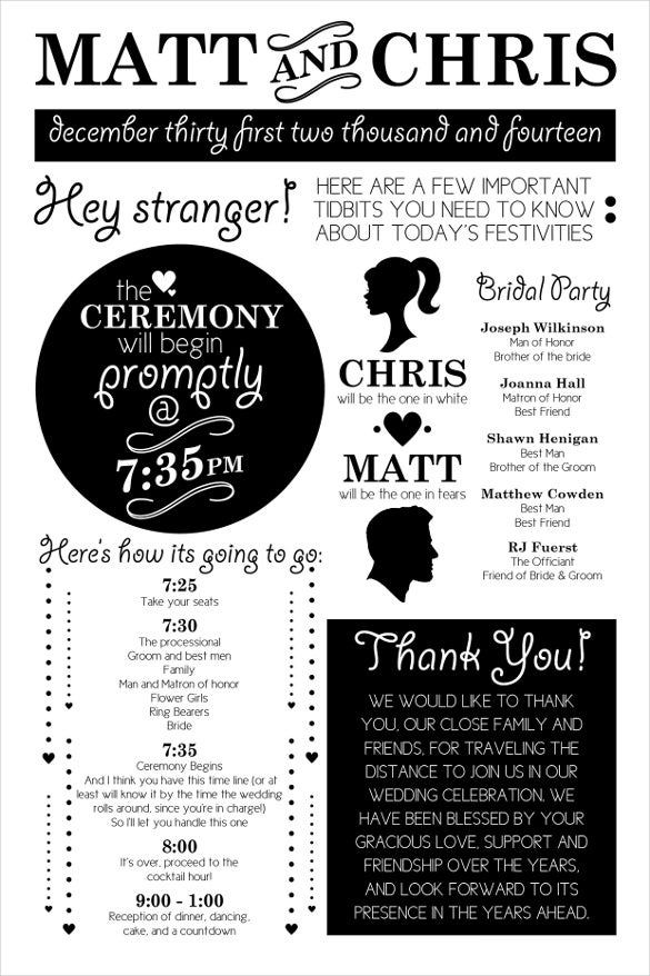 black white wedding schedule template for download