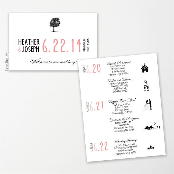 wedding schedule template for download