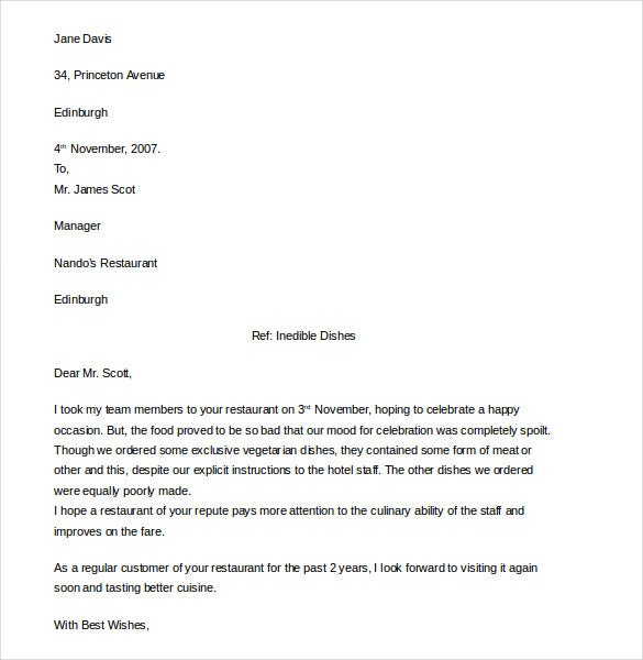 12 Restaurant And Hotel Complaint Letter Templates Pdf Doc