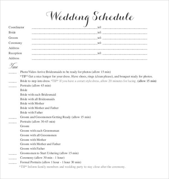 Wedding Itinerary Template Blank Wedding Schedule Template For