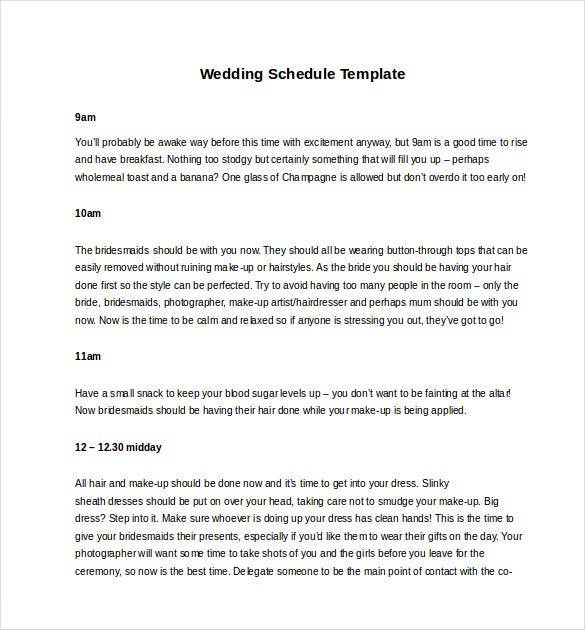 printable wedding schedule template download