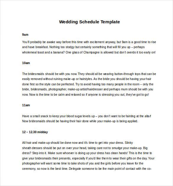 reception schedule template
