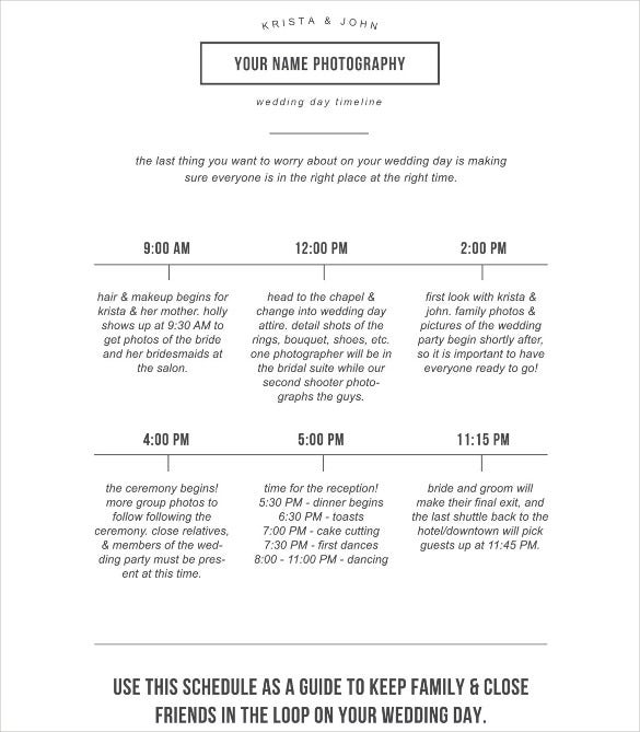 corporate wedding schedule template for download
