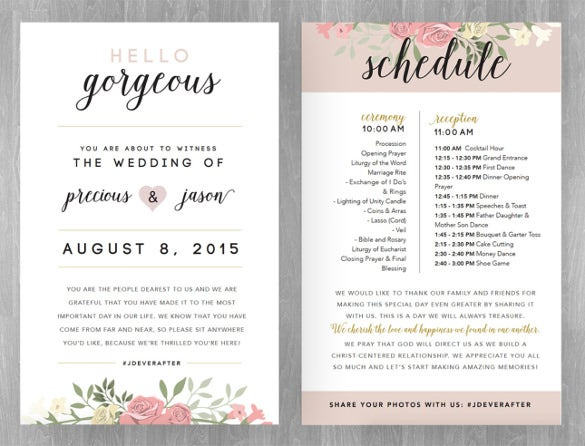 floral design wedding schedule template for download