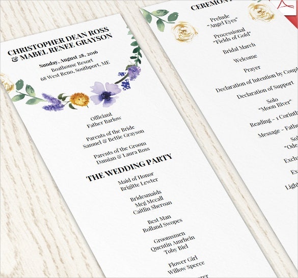 floral wedding schedule template for download