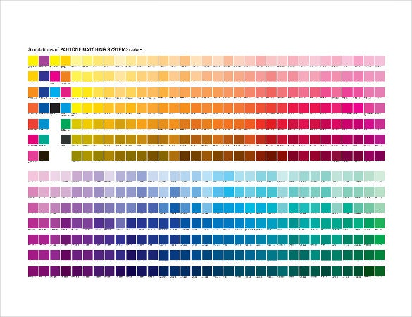 Color Chart Template Pantone All Color Chart Pdf Format Color