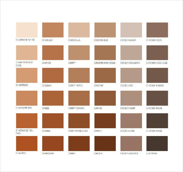 brown pantone color chart