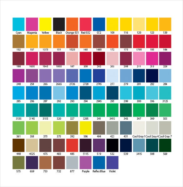 fabric pantone color chart