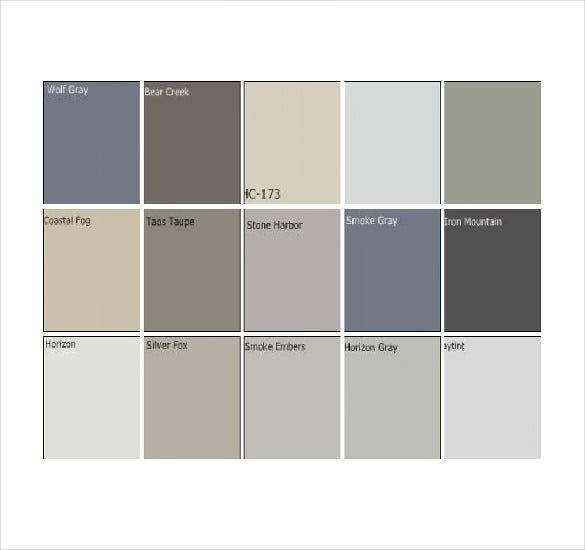 grey pantone color chart