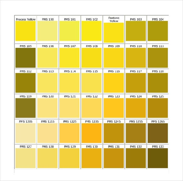 gold pantone color chart