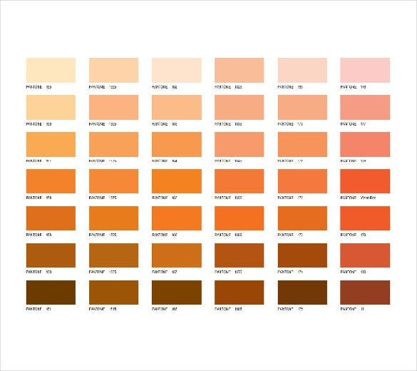 orange pantone color chart