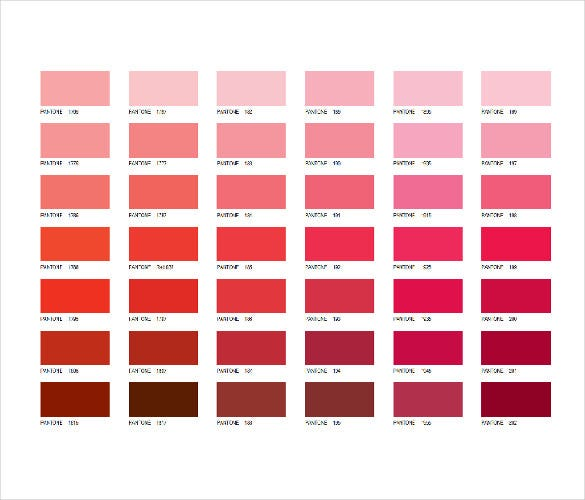 Pink Pantone Color Chart Word File