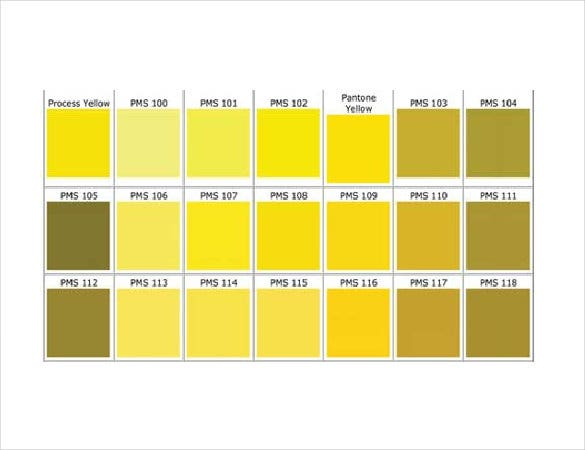 yellow pantone color chart